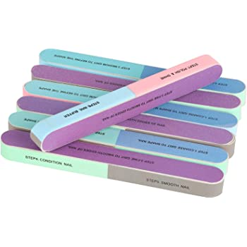 12 Packs 7 Way Nail File and Buffer Block Nail Buffering Files 7 Steps Washable Emery Boards Professional Manicure Tools