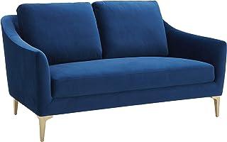 Amazon Brand – Rivet Alonzo Contemporary Velvet Loveseat Sofa, 64W, Blue