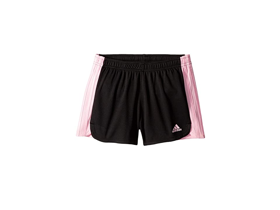 Image of adidas Kids 3 Stripe Blocked Shorts (Big Kids) (Black/Light Pink) Girl's Shorts