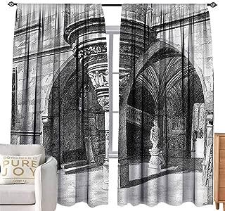 Long Curtains Gothic,Sketch of Antique Arch Paris Blackout Curtains 2 Panels Set Room,W108 x L84 inch