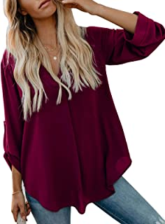 Women's V Neck Slit Shirts Roll-up Sleeve Tops Solid Plain Casual Long Sleeve Tops Work Blouses