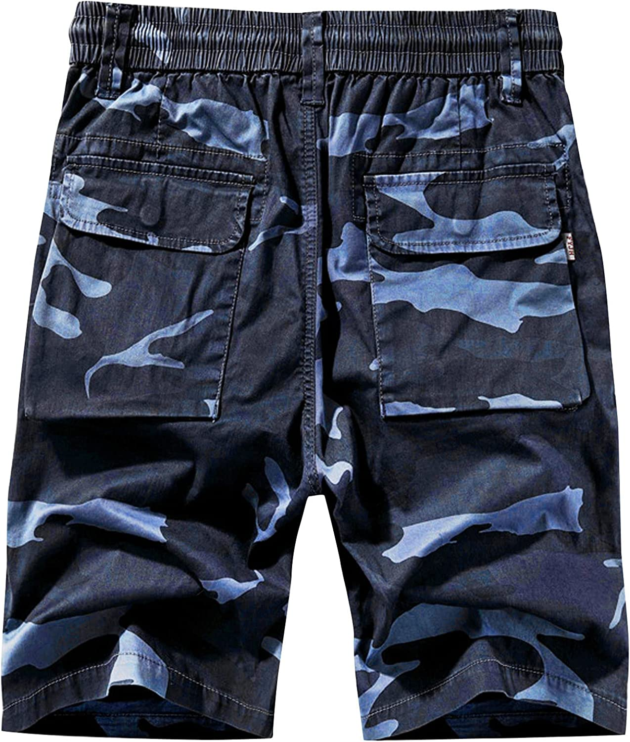 Mens Pure Color Cargo Shorts Relaxed Fit Multi-Pocket Outdoor Camouflage Shorts Cotton Work Trouser Outdoor Overalls
