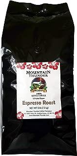 100% Kona Coffee Espresso Roast - 5 Pounds Premium Gourmet Whole Bean by Mountain Thunder Coffee Plantation