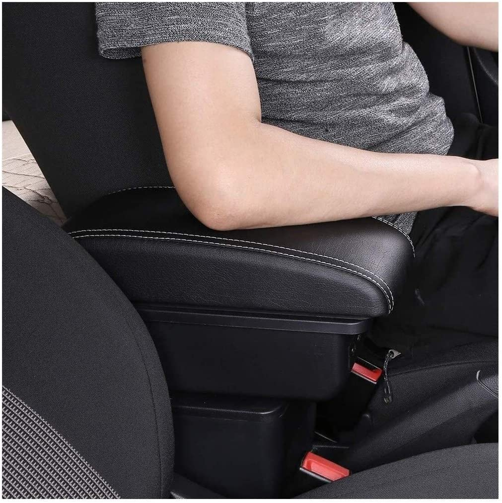 FSXF Double Layer Console Center Large Storage Box With 3 USB Charging Port Black Stitching For Opel Corsa D 2006-2011 2012 2013 2014 Car Armrest Box Center Console Color : Black Stitching