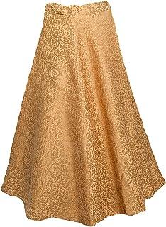 MAMTA Women's Umbrella Cut Traditional Lehenga/Skirt for Party/Festival Function, Gold