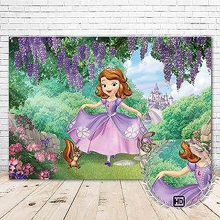 PrincessSofia BackdropHappy Birthday 7x5 Romantic Purple Lavender Arch Sofia The First Background Baby Shower for Girl V...