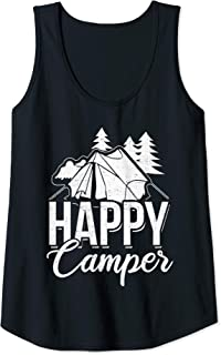 Womens Happy Camper Camping Outdoor Lover Outfit Apparel Tank Top