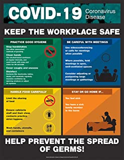 COVID-19 Safety Poster, Keep The Workplace Safe, Laminated, 28