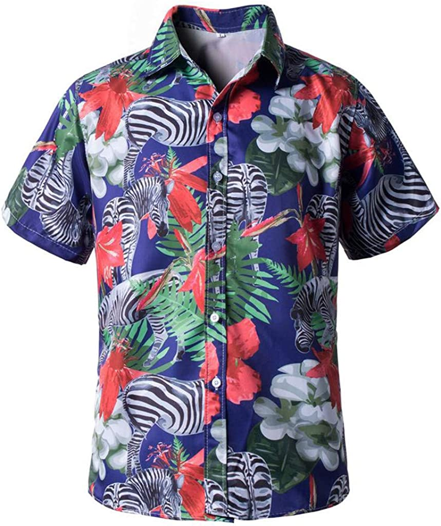 DIOMOR Men's Plus Size Fashion Summer Beach Short Sleeve Button Down Shirts Trendy Colorful Graphic Lapel Blouses Tops