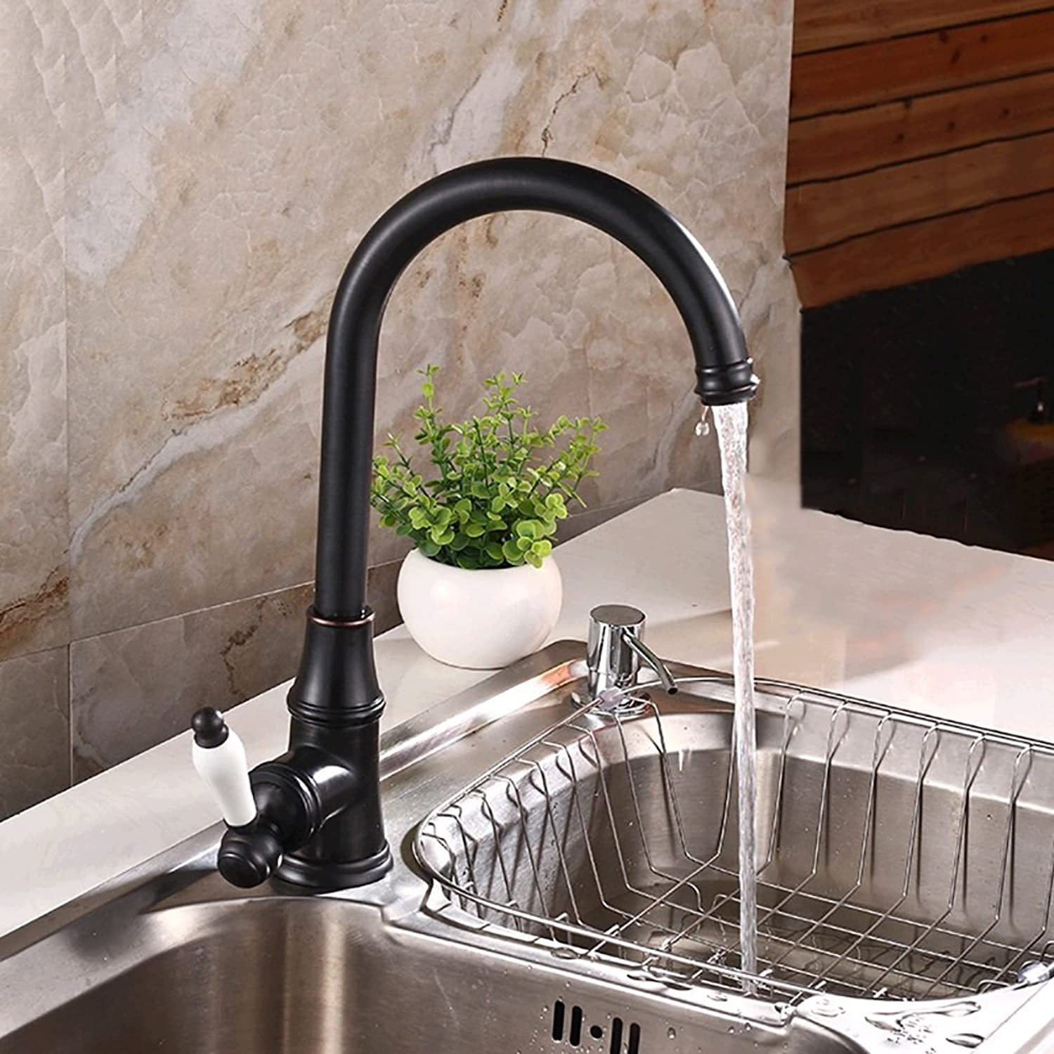 Lingyun Faucet- Full Copper Black Bronze Sink Faucet Can Be redated On The Basin Pot Hot And Cold Water Kitchen Faucet