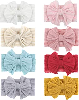 inSowni 8 Pack Solid Stretchy Lace Wide Big Bow Headbands for Baby Girls Toddlers Newborns Infants Kids
