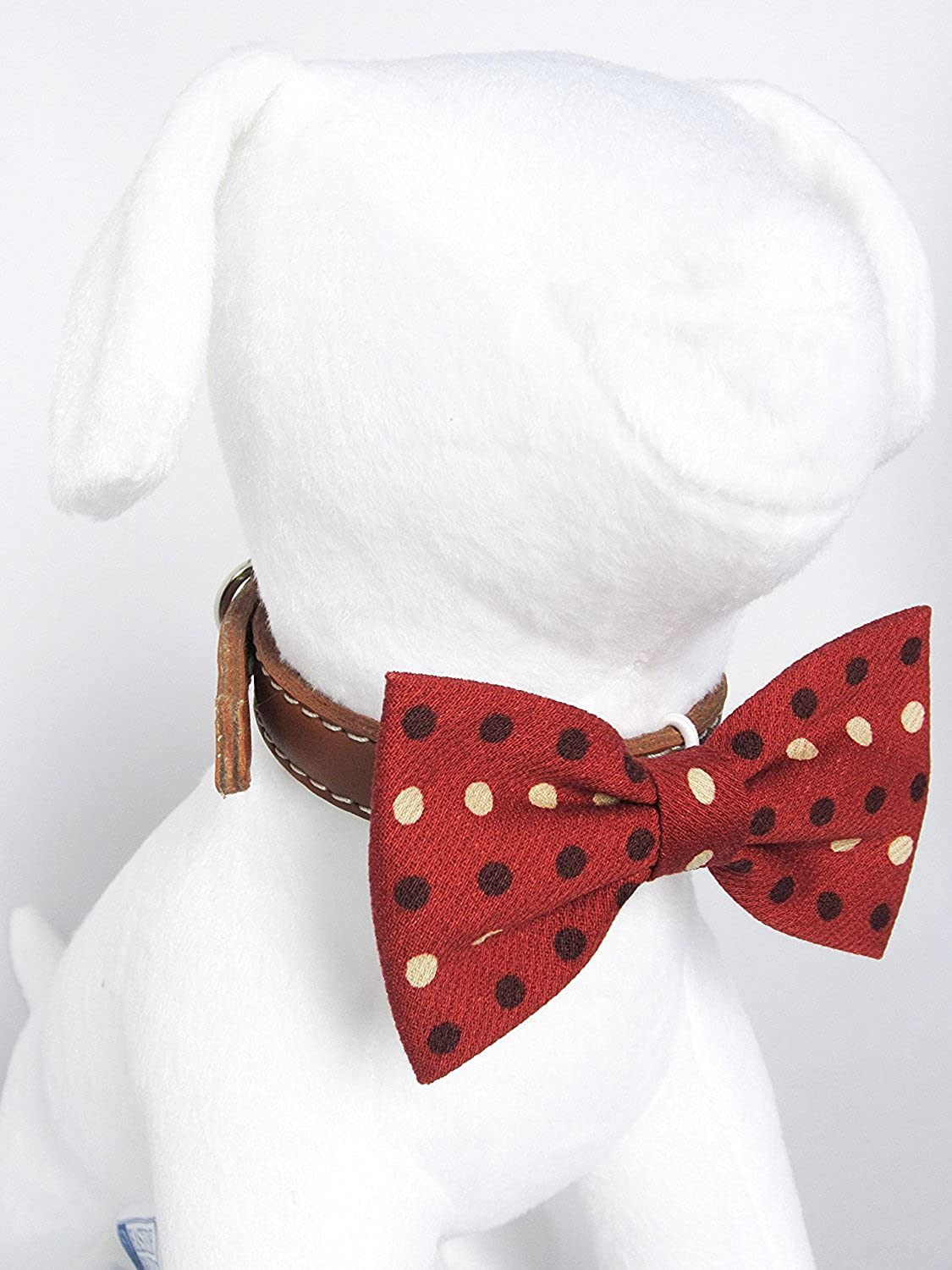 Gingerbread Polka Dot  Hand Stitched Bow Tie Collar Accessory for Dog Cat Pet