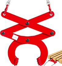 BestEquip 3T Pallet Puller Steel Double Scissor Red Pallet Puller Clamp 6614LBS Capacity 6.3 Inch Jaw Opening x 0.5 Inch Jaw Height with 8 Inch Chain