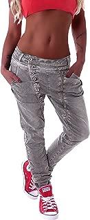 Style-Station Mozzaar Damen Boyfriend Jeans Baggy Haremshose Harem Stretch Oversize in Weiß Grau Khaki M 38 L 40 XL 42 XXL 44 XXL 46 XXXXL 48