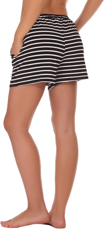 WOAIVOOU 1&2 Pieces Women Casual Sleep Shorts Stretchy Cotton Pajama Bottoms Lounge Shorts