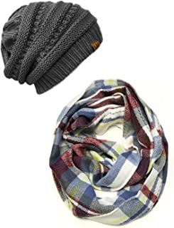 Wrapables womens Plaid Print Infinity Scarf and Beanie Hat Set Winter Accessory Set - multi - One Size
