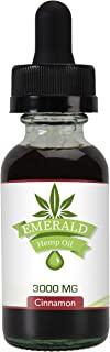 Premium Pure Hemp Oil by Emerald Hemp | Organic Hemp Extract, MCT Oil | All Natural Dietary Supplement for Enhanced Sleep | Herbal Drops | Food Grade | Made in The USA | Cinnamon Flavor | 3000mg