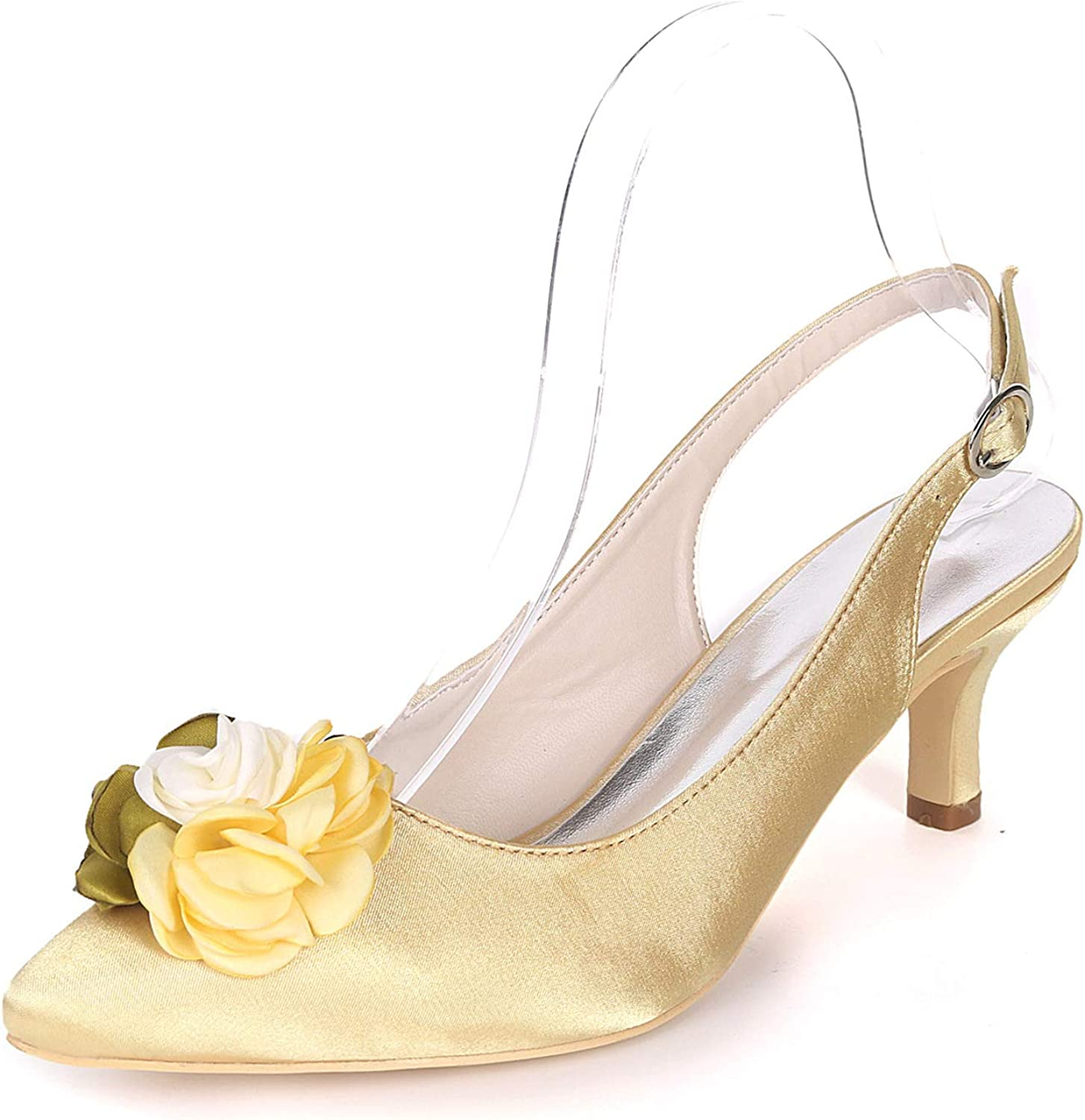LLBubble Women Kitten Heels Pointed Toe Flower Party shoes Buckle Strap Satin Evening Wedding Bridal Party Dress Pumps 1608-20H