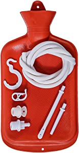 Enema Bag Clean Anal Silicone Douche for Men Women BPA Free (2 Quart) Hot Water Bottle - Coffee, Shower, Douche & Home Adult Enema Kit (Red)