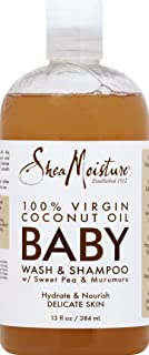 Shea Moisture 100 Percent Virgin Coconut Oil Baby Wash and Shampoo for Kids, 13 Ounce