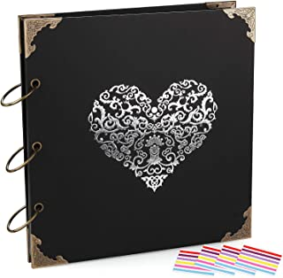 ADVcer Photo Album DIY Scrapbook, 10x10 inch 50 Pages Double Sided, Vintage Hardcover Three-Ring Binder Picture Booth Albums with 6 Colors 408pcs Self Adhesive Photos Corners for Memory Keep (Black)