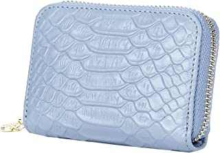 Heshe Cowhide Leather Womens Card Case Zippered Around with 9 Credit Card Slots (Light Blue)