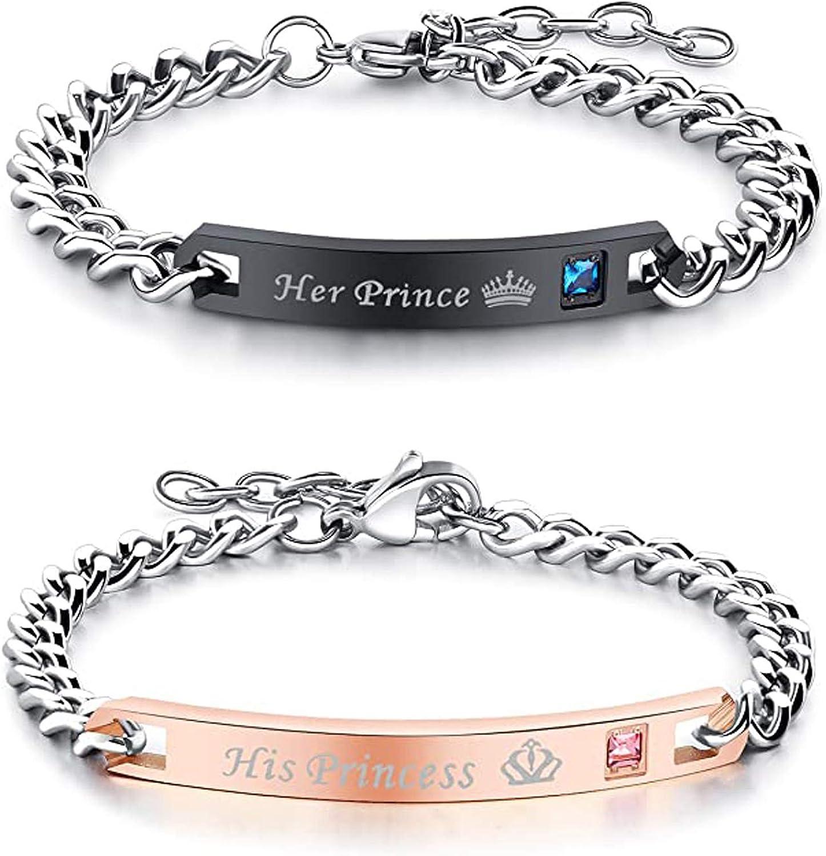 Couples Bracelets for Boyfriend Girlfriend Him Her Engraved Adjustable Stainless Steel Link Bracelets Rose Gold Black Xmas Gifts for Couples