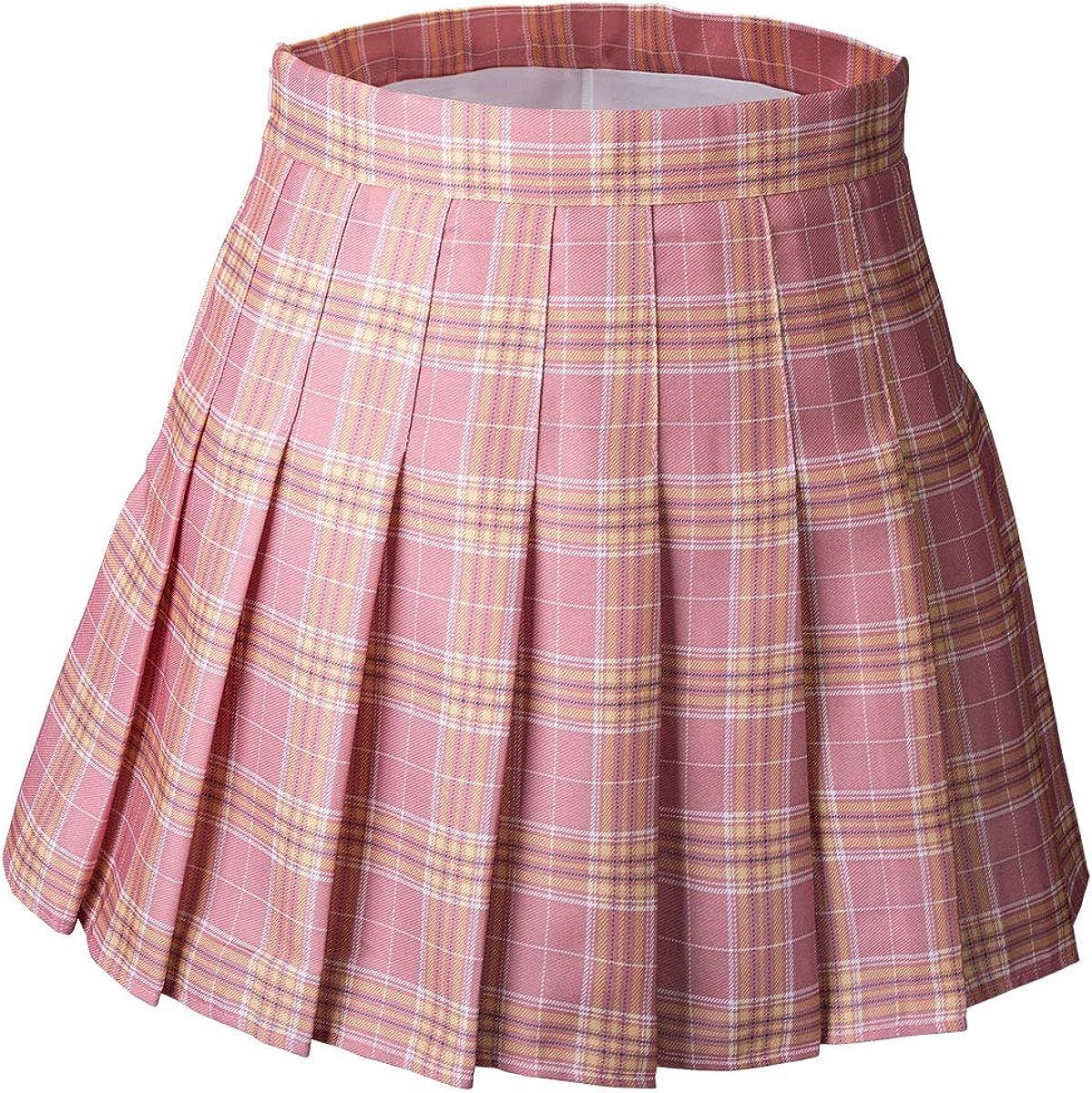 High Waist Plaid Pleated Skirt A-Line Mini Skirt Casual