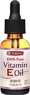 De La Cruz Vitamin E Oil for Face 28,000 IU - No Preservatives, Artificial Colors or Fragrances, Made in USA 1 FL. OZ.