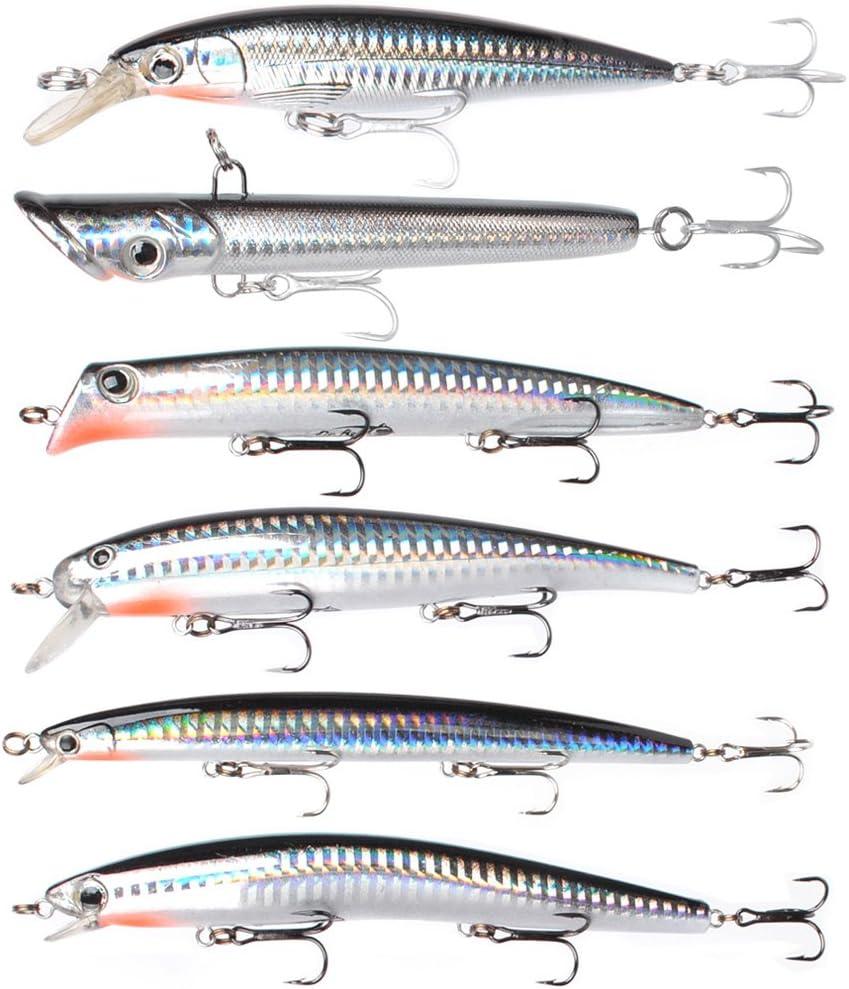 Dr.Fish Assorted 6 Jerkbait Minnow Plugs Popper 5in Hardbaits Kit Saltwater Lure Surf Fishing Striper Bass Redfish Mackerel Musky Black Silver : Sports & Outdoors