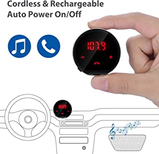 Avantree CK310 Bluetooth FM Radio Transmitter for Car, Auto Power On Off w/Cord Or Cordless Rechargeable 7h, Wireless Hands Free Car Kit Adapter & Receiver for Music, Call and GPS to Car Audio System