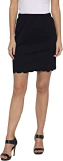 Globus Navy Blue Solid Skirts