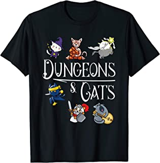 Dungeons and Cats Funny Cat Lover Cartoon Character Shirt