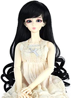 Miss U Hair 9-10 Inch 1/3 BJD MSD DOD Pullip Dollfie Doll Wig Long Curly Hair Not for Human (Jet black)