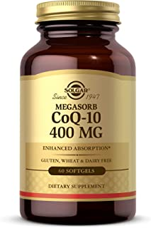 Solgar Megasorb CoQ-10 400 mg, 60 Softgels - Supports Heart & Brain Function - Coenzyme Q10 Supplement - Enhanced Absorpti...
