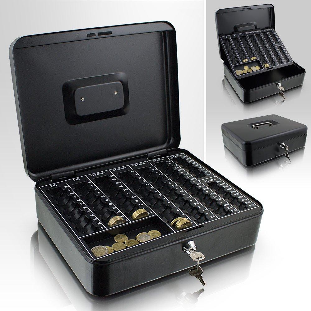 Caja para dinero, de 30 cm, queda plana al cerrarla, para monedas y dinero, con bandeja con números, color negro: Amazon.es: Oficina y papelería