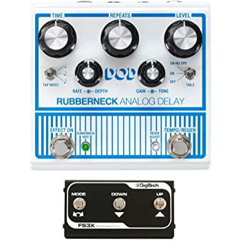 DOD Rubberneck Analog Delay Effects Pedal with Tap Tempo and Built in Effects Loop DigiTech FS3X with Three Function Foot Switch