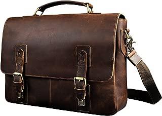 Le'aokuu Mens Leather Cowhide Document Case Briefcase Attache Messenger Bag Laptop Portfolio Bag for Daily Life (Dark Brown)