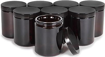 Vivaplex, Amber, 8 ounce, Round Glass Jars, with Black Lids - 8 pack