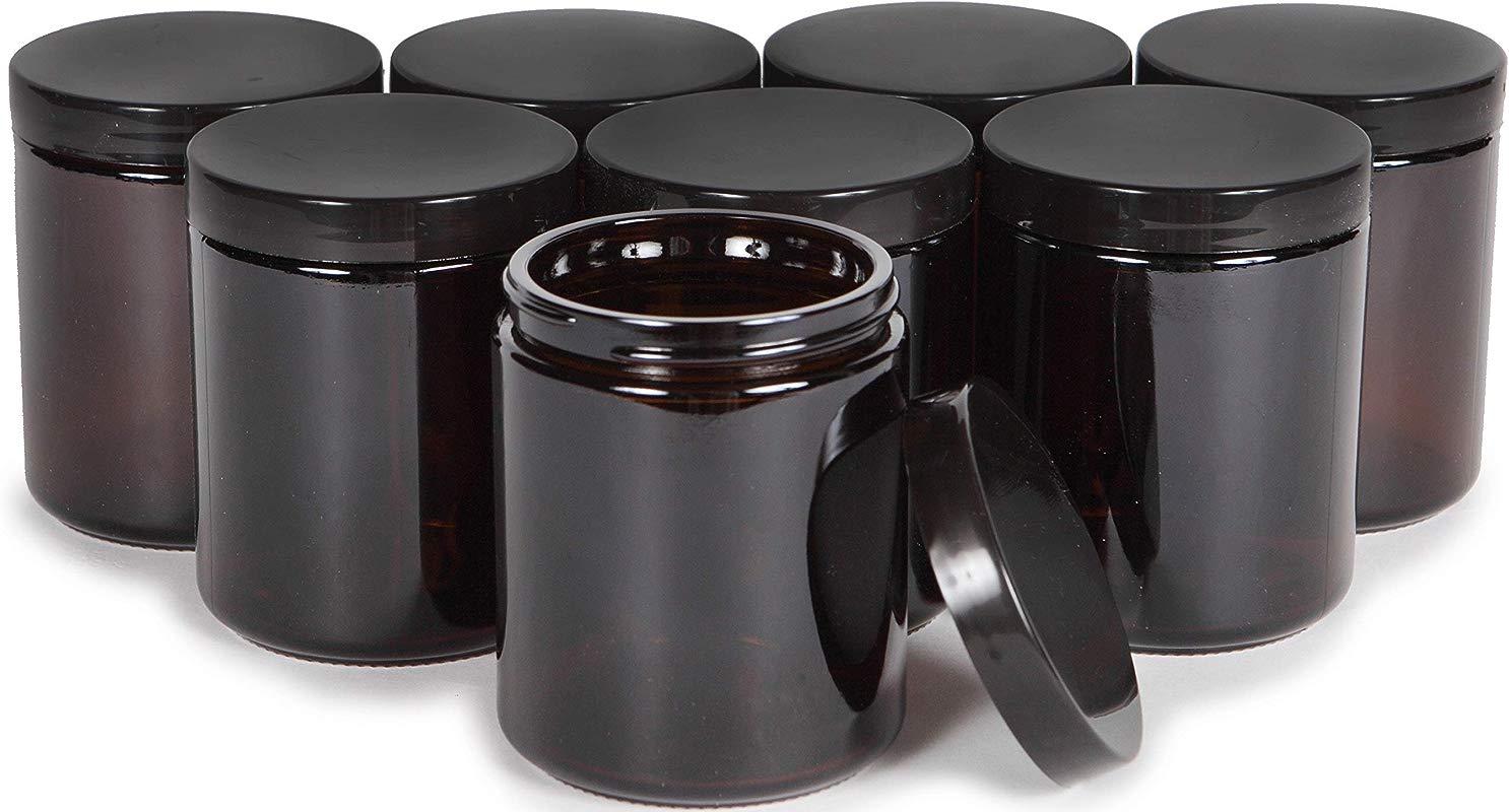 Vivaplex Amber 8 Ounce Round Glass Jars With Black Lids 8 Pack