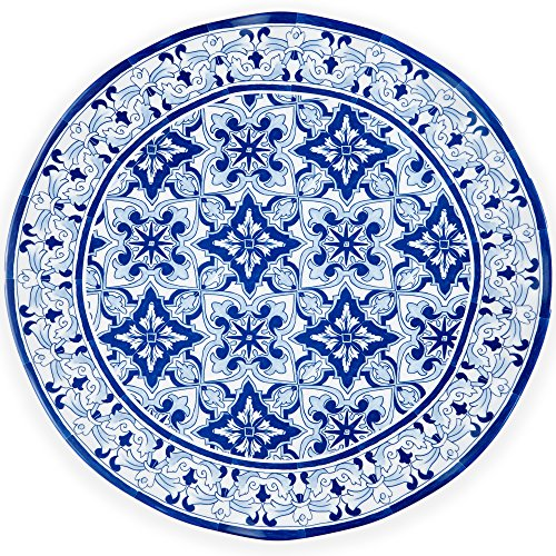 Q Squared Talavera in Azul BPA-Free Melamine Serving Platter, 16-Inches, Blue and White