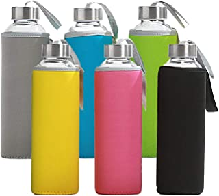 58018a5237 6 Pack - Glass Water Bottles with Multi-Color Neoprene Sleeves, 18 oz  Capacity