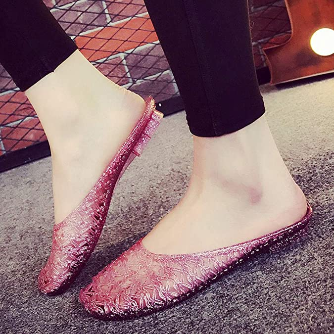 Womens Casual Flats Slip on Loafers Shoes Jelly Hollow Out Summer Beach Sandals