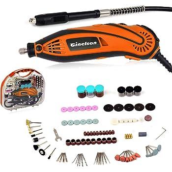 Mini Amoladora Eléctrica, Ginelson Herramienta rotativa multifunción con Eje Flexible/Portabrocas Sin Llave/ 150 Accesorios para Manualidad y Creación Bricolaje