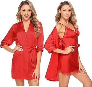f646f9b5a08cc Aibrou Peignoir Satin Robe de Chambre Kimono Femme Sortie de Bain Nuisette  Déshabillé Vêtements de Nuit