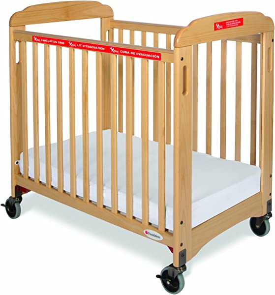 Foundations First Responder Compact Sided Evacuation Clearview Crib With Evacuation Frame Natural