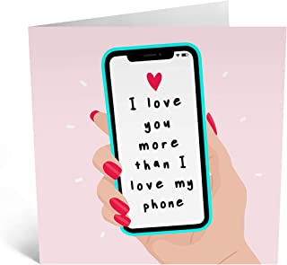 Central 23 - Cute Anniversary Card for Husband - 'Love You More Than My Phone' - Sweet Anniversary Cards for Her - Anniver...