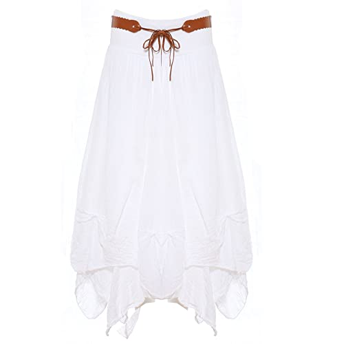 67b0869ccf2d Candy Clothing Made Ladies Hi Waisted Cotton Skirt Festival Belted Boho  Gypsy Tiered Asymmetric Hitched Hem