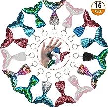 15 Stück Pailletten Schlüsselanhänger, Meerjungfrau Schlüsselanhänger mit Pailletten Glitter für Meerjungfrau Party,Taschen,Rucksack,Brieftaschen, Birthday Party Supplies für Kinder,5 Farben