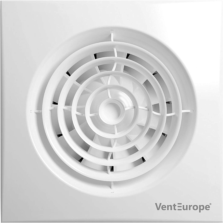 VENTEUROPE- Ventilador de baño Ø100 mm Silenco (VE100-Q-F-C-T Ø 100 mm- Temporizador Silencioso)